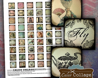 Eclectic Dream - Charm Collage Sheet - .85x.85 Images - Jewelry Collage Sheet - DIY Jewelry Images - Calico Collage - Whimsical Collage