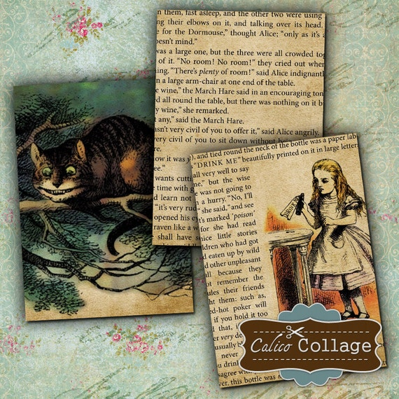 Alice in Wonderland Digital Collage Sheet 2.5x3.5 ATC Size Images for Gift Tags, Labels, Decoupage, Craft Sheet, Mixed Media Art
