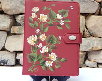 Hand Painted Raspberry Vinyl Notebook with Gold Flowers and Greenery