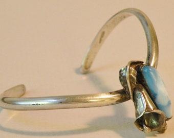Flower Motif and Blue Stone Sterling Bracelet