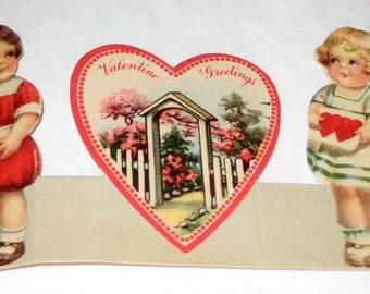 Vintage Valentine Card - Children, Boy and Girl