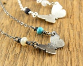 Butterfly necklace, 3/4-inch OXIDIZED sterling silver, necklace with ONE birthstone, purchase additional stones to create mother's necklace.
