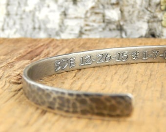 Mens silver cuff bracelet, 6 mm OXIDIZED silver, hammered 6 x 1.5 mm solid sterling silver, engravable cuff.