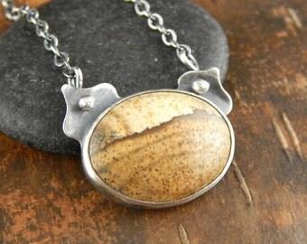 Jasper necklace, picture jasper necklace, landscape jasper pendant, small bezel-set stone, metalwork sterling silver necklace.