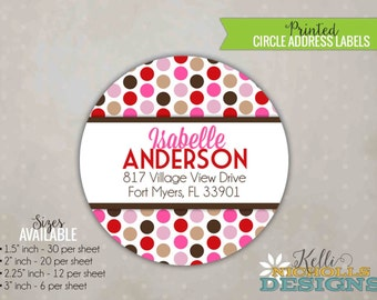 Personalized Girl Sock Monkey Circle Return Address Label, Custom Envelope Seal Sticker #B126-G
