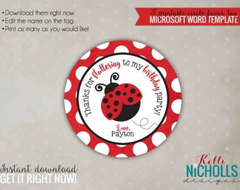 Ladybug Birthday Party Custom Party Favor Tags, Lady Bug Birthday Decorations, Instant Download - Printable #B111