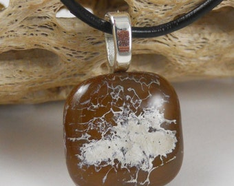 Brown & White Pendant - Fused Glass Pendant - Glass Necklace - Fused Glass Jewelry A1326B10
