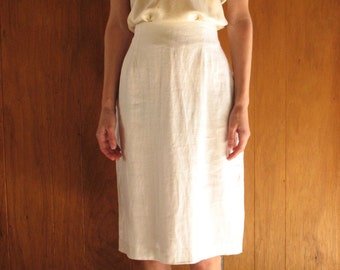 WHITE LINEN high waist skirt, m