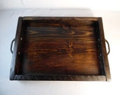 Serving Tray Reclaimed Wood Dark Walnut Tray Wood Serving Tray Lodge Decor Bed & Breakfast