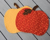Quilted PUMPKIN Placemats Set of 2