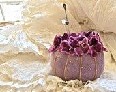 Vintage Lovely Velvet Pin Cushion With Velvet Millinery Pansies