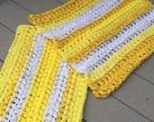 Yellow and white rugs, custom rugs, rag rugs, crocheted rugs