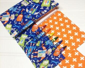 Robot crayon wallet, Crayon case, Robot crayon roll, student gift, Kids art kit, Coloring wallet, Gifts for kids, Coloring book, Robot gift