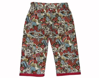 Dia De Los Muertos - Sugar Skull Girl - Skull Clothing - Girl Pants - Punk Rock Clothing - Toddler Pants - Day of the Dead - 4T