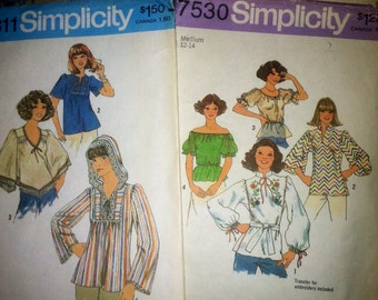 Boho peasant 70's blouse pattern lot 1976 patterns 1970's top shirt hooded hood gypsy bohemian