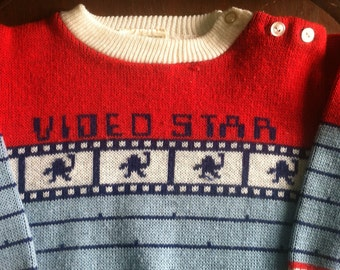 80's video star baby sweater vintage 1980's video game infant