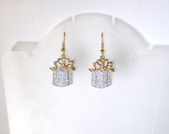Christmas Earrings - Gold and White Presents  - Gold Ear Wires