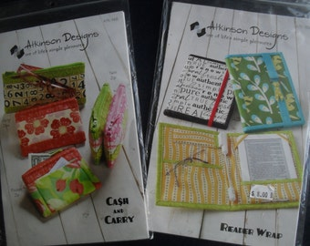 Wallet - Reader Wrap Note Book 2 Patterns New Uncut Atkinson Designs