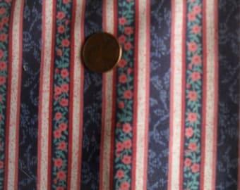 Cotton Striped Fabric 2 + yards  43 X 44 wide
