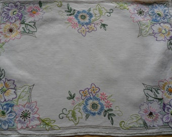 Vintage Embroidered Tray Cloth
