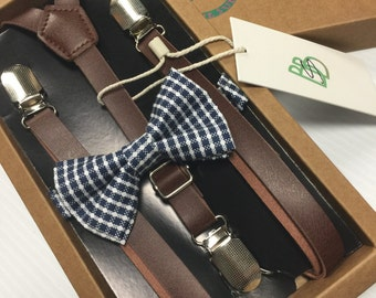 Boys Bow Tie and Suspender Set - Youth Toddler Kids - Leather and Dark Blue Check - Easter Sunday, Church, Holiday