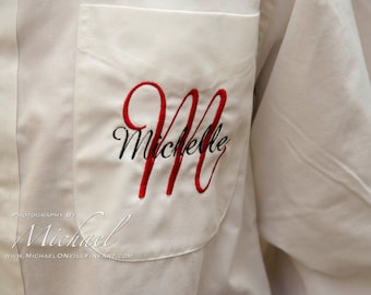 Monogrammed Bridal Party Gift - getting ready shirts  - Bride Shirt and Bridesmaid Gift Set of 14