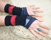 Navy and Pink upcycled woolens wristwarmers