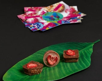 VALENTINE SALE 2 Raw chocolates with strawberry almond butter. Vegan, organic, sugar free & gluten free