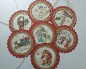 Christmas tags vintage style victorian round scalloped red green and gold  angels santa claus children old world joy - set of 8