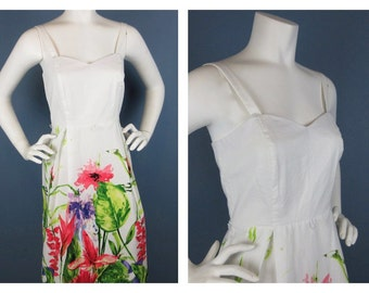 Vintage 1960s / 70s Cotton Summer Dress, Smocked Back, Sz M