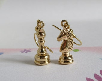 Golden Chess Earrings, Miniature Chess Pieces Jewelry, Knight And Pawn, Quirky Earrings