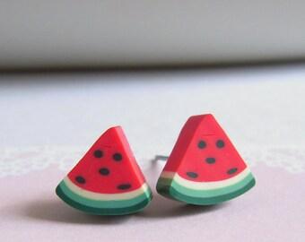 Sliced Watermelon Stud Earrings