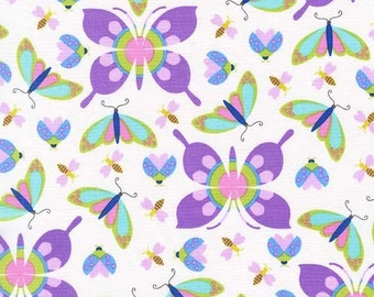 Michael Miller All The Wee Beasts in Lavender by Tamera and Kate from the Birds and Bees Collection  1/2 Yard