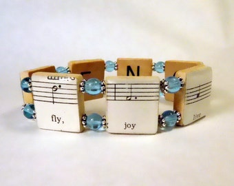INSPIRATIONAL JEWELRY / Uplifting Bracelet / SCRABBLE Jewelry / Vintage Sheet Music / Musical Note