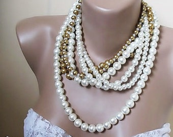 Wedding ivory-caramel glass pearl necklace. Bold Bridal  Handmade chunky layered jewellery, so chic