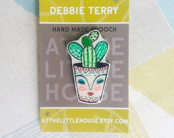 cacti in a pot brooch , hand drawn , shrink plastic , cactus , succulent, wearable art