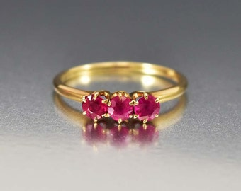 Antique Ruby Engagement Ring, Ruby Ring, Victorian Engagement Ring, Trilogy Ring, Gold Ring, Antique Engagement Ring, Wedding Ring,