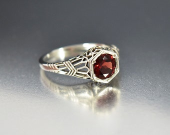 Garnet Ring, Engagement Ring, Sterling Silver Filigree Garnet Engagement Ring, January Birthstone Ring Vintage Art Deco Style, Stacking Ring