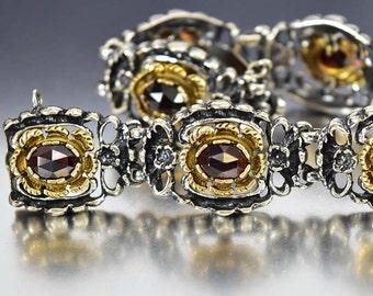 Bohemian Garnet Bracelet, Art Deco Bracelet, Gold Vermeil Silver Bracelet 1920s Bracelet Vintage Art Deco Jewelry Antique Jewelry Large Size