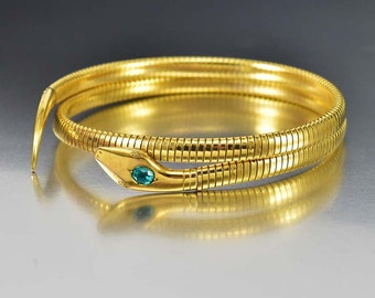 Art Deco Snake Bracelet ArmBand, Emerald 9K Rolled Gold Arm Cuff Coil Wrap Bracelet, Germany 1920s Vintage Art Deco Jewelry, Antique Jewelry