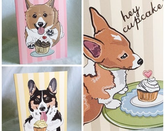 Cupcake Corgis Greeting Card Trio