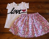 Valentines Day Outfit, Valentines Shirt, LOVE Shirt, Valentines Day Skirt, Love Potion No. 9, Girl Valentines Outfit, Ready to Ship