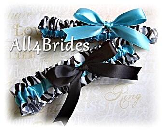 Zebra wedding bridal leg garter set, turquoise and black zebra print keepsake and throw garters, something blue