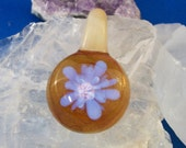 Periwinkle Flower in Amber Sunlight Glass Pendant