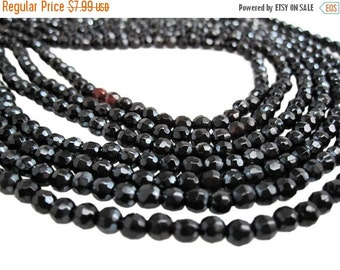 SALE Red Black Agate Beads, Faceted Round, 4mm, 16 inch strand, Red Black Gemstone Beads, SKU 3927A