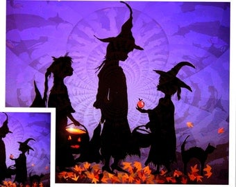 Purple Halloween Art, Halloween Witch Print/ Paper Cutting/Witches Cauldron