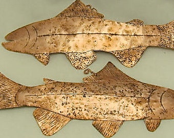 Wall Decor. Copper Fish. Wall Hanging, GUY GIFT. Copper Trout, Fish Art Sculpture needs home.