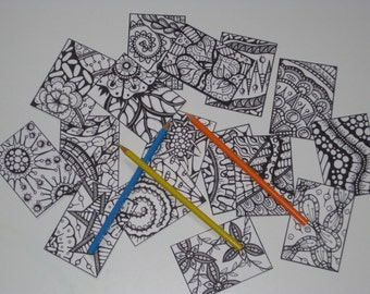 Artist Trading Cards for Coloring   -  Set of 16 - Pack #21