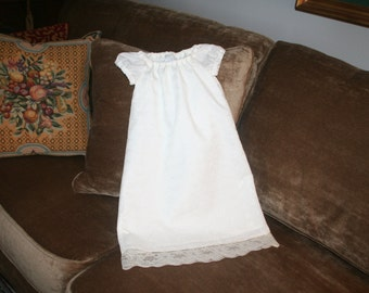 Handmade White eyelet Baptism dress.  Available in sizes newborn, 3 months and 6 months