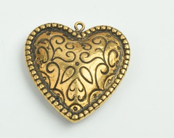 Heart Pendant, 2 sided 20mm width,  gold finish , 3/each 09515AG